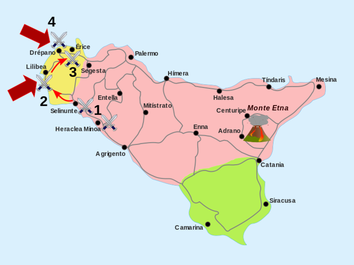 Map of Sicily.  Yellow stands for Carthage territory, Red for Roman, Green for Sircusian