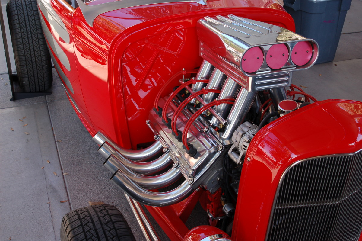 Ceramic coated headers look great on a restored hot rod.