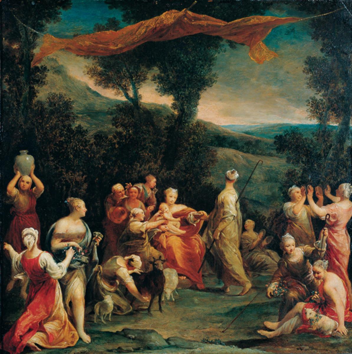 'Jupiter Among the Corybantes (Korybantes)', oil on copper painting by Giuseppe Maria Crespi PD-art-100