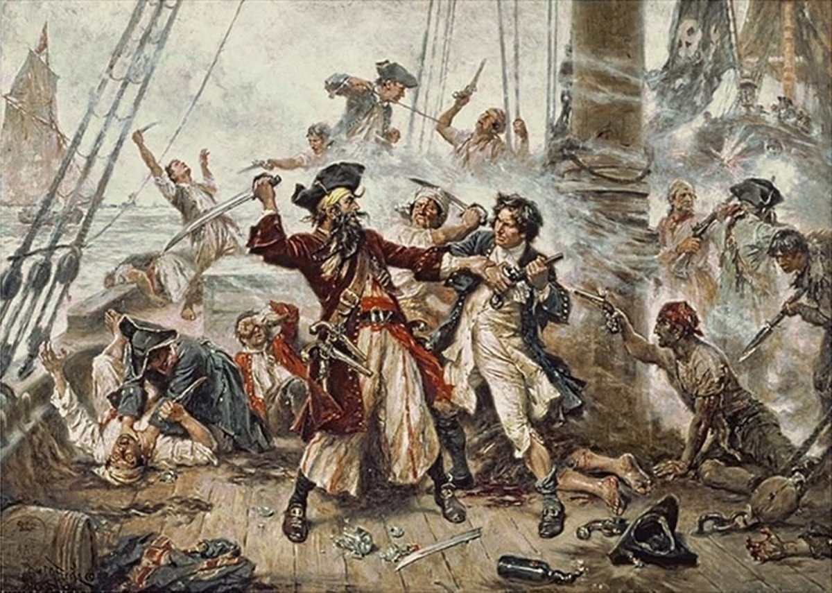 Blackbeard battling Lt. Maynard prior to his capture. Pirates liked to fight!