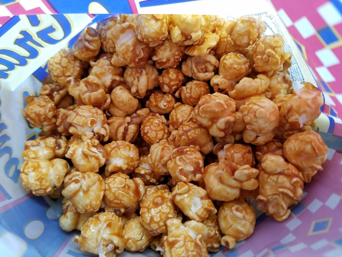 Caramel corn is made with mushroom popcorn which is round like a mushroom cap.