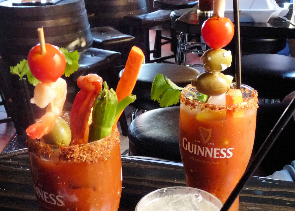 Brunch @ Small Bar, San Diego. Two Bloody Marys - one vegetarian, one with bacon.