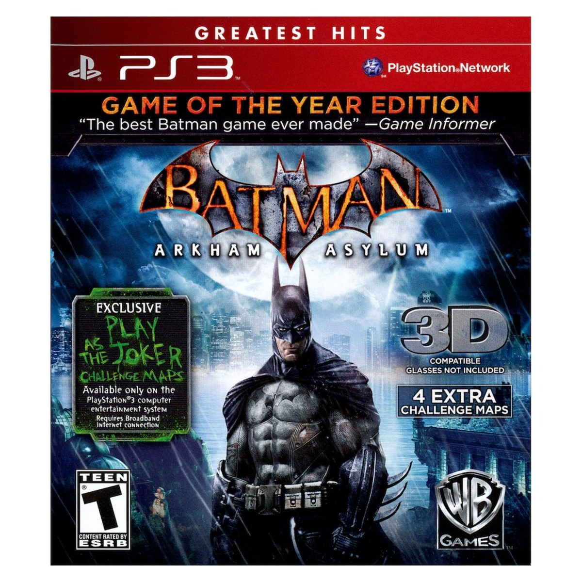 """Batman: Arkham Asylum"" Game of the Year Edition for PlayStation 3 cover."