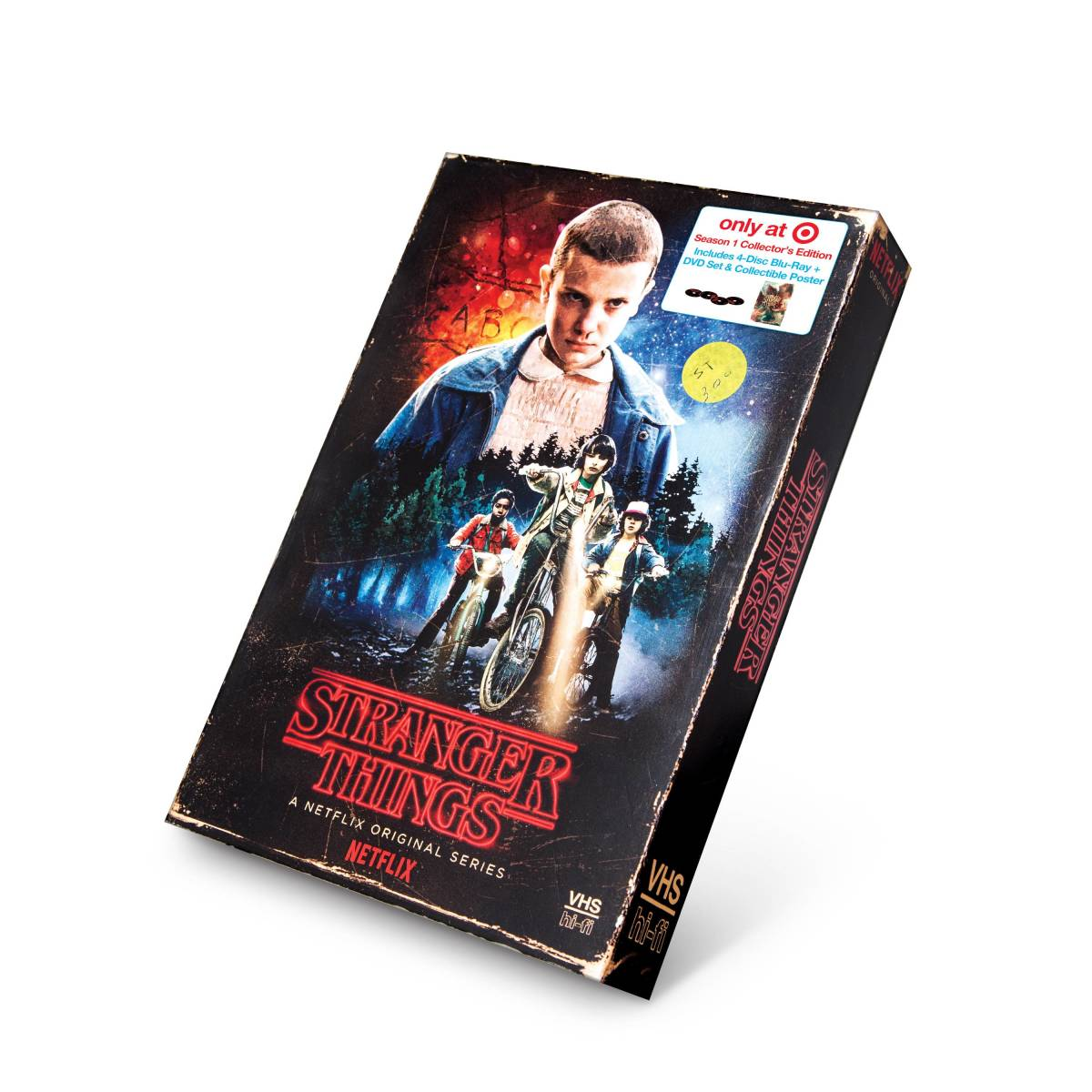 Stranger Things Season 1 blu-ray special edition VHS style cover.