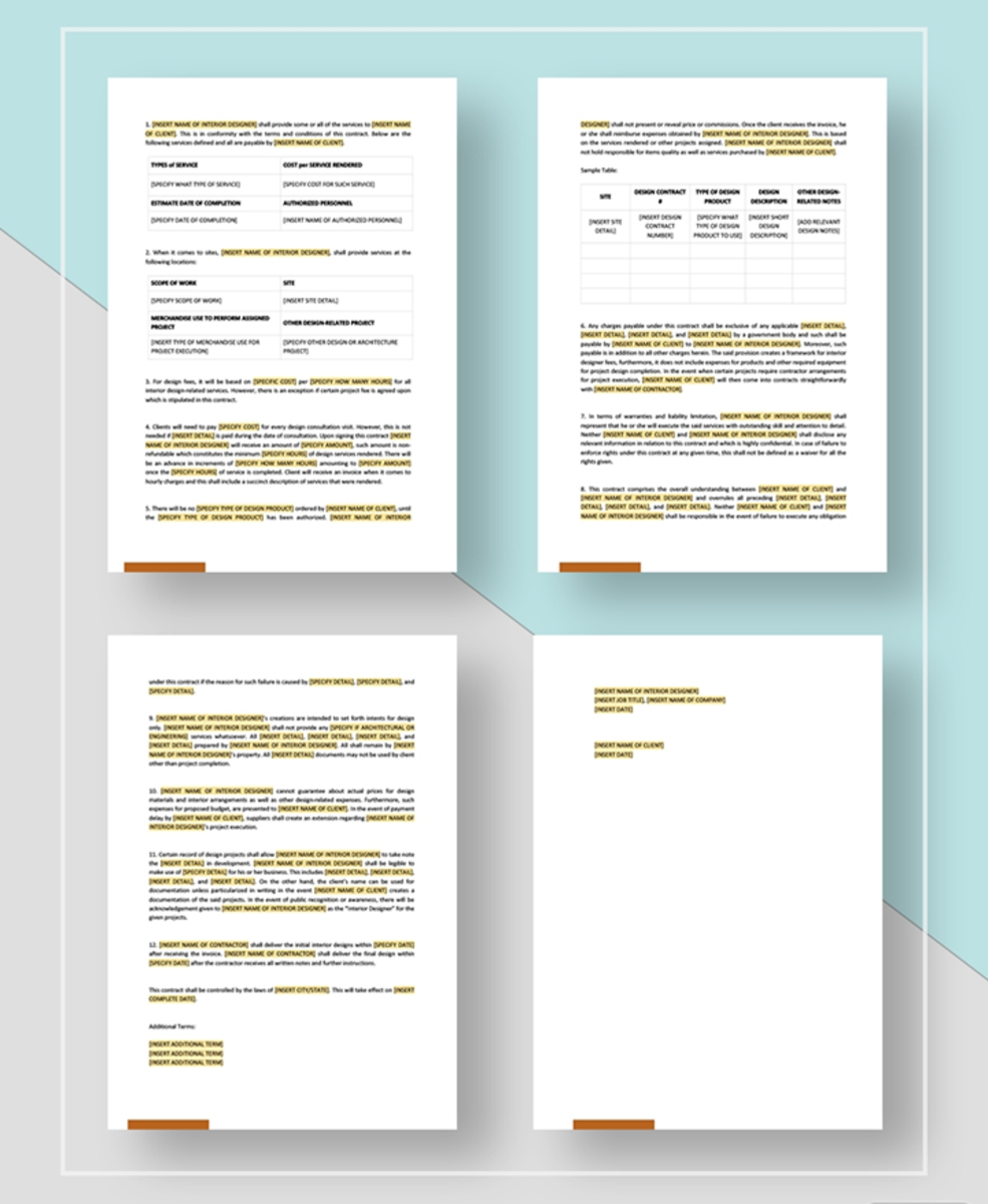Samples of a contract agreement template - Images, courtesy of TEMPLATE.NET