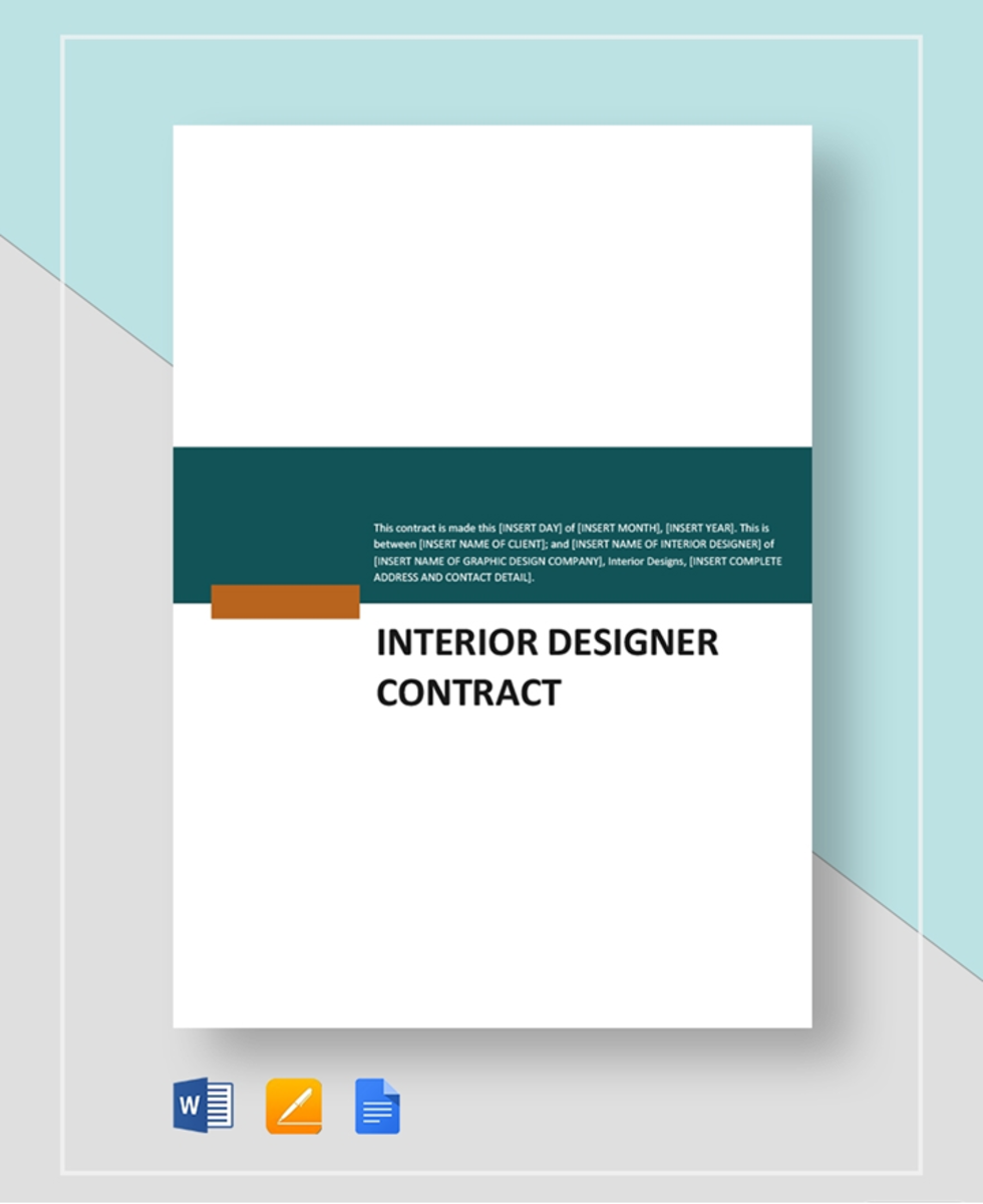 agreement interior design contract template pdf