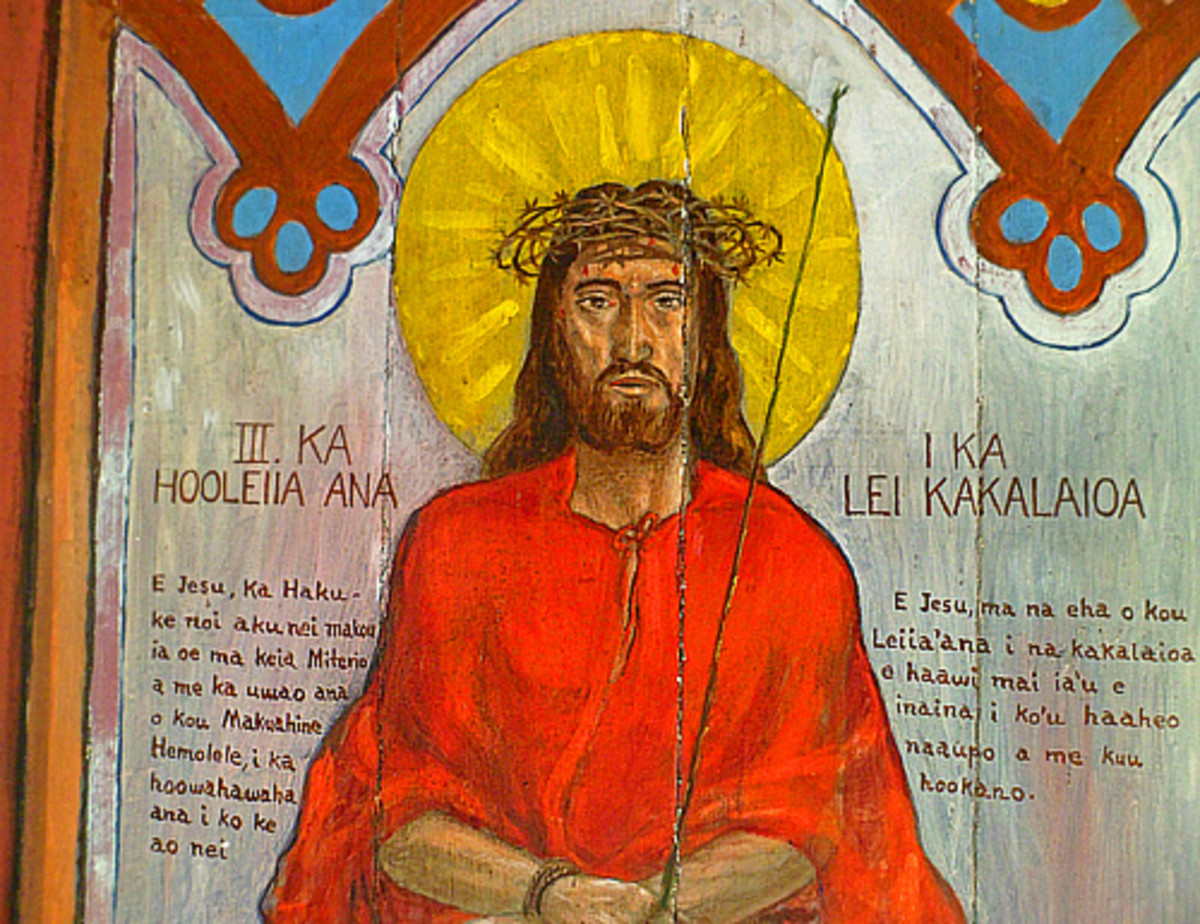 A hand-painted mural of Jesus with Scriptural text in Hawaiian language.