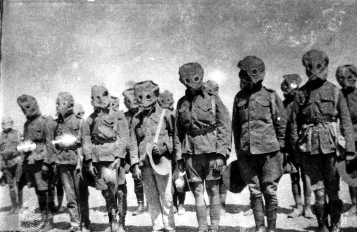 Soldiers often wore gas masks during World War I because of the threat of mustard gas. Unfortunately, these masks did not always prevent injury.