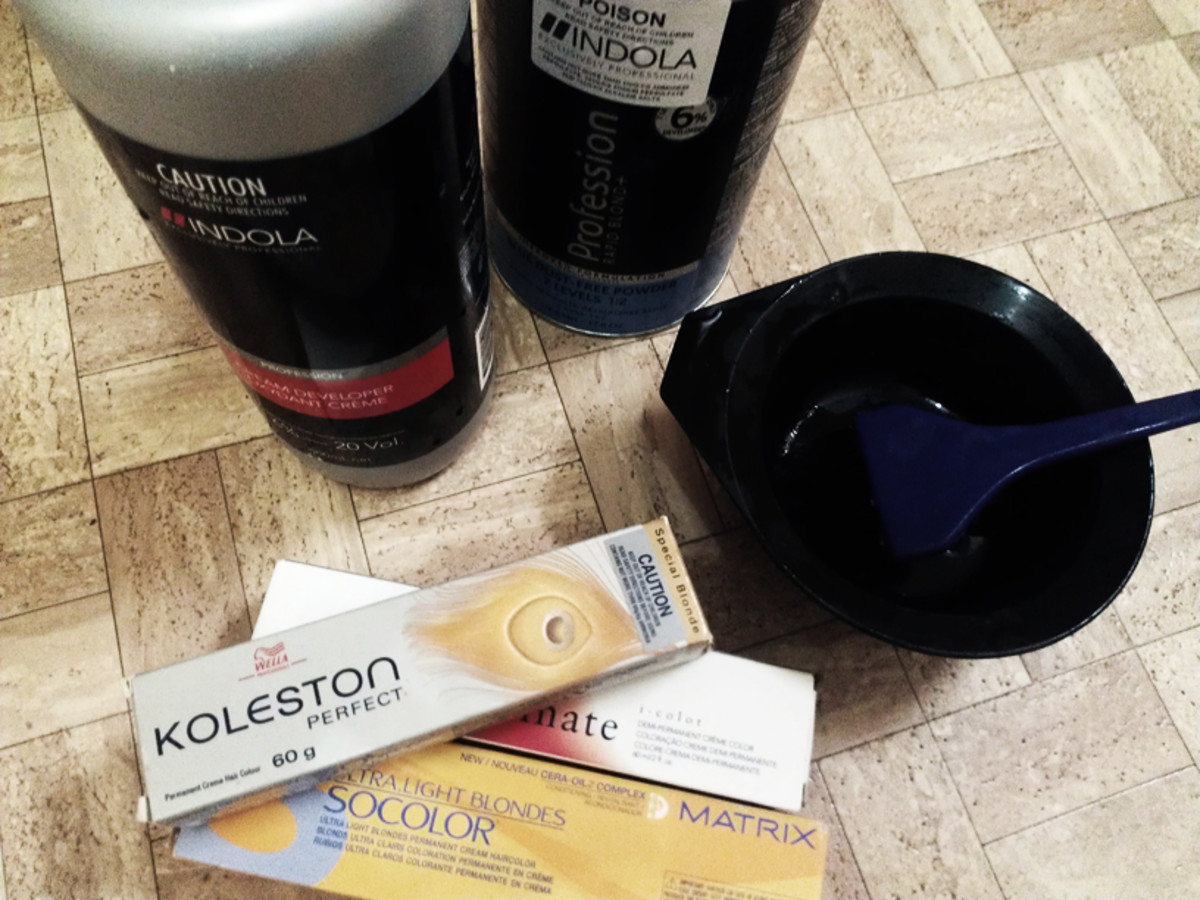 Dyes, lightener, peroxide, and tools for coloring and bleaching hair.