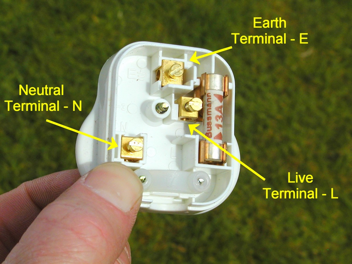 Live, neutral and earth terminals in a plug are marked L, N and E respectively