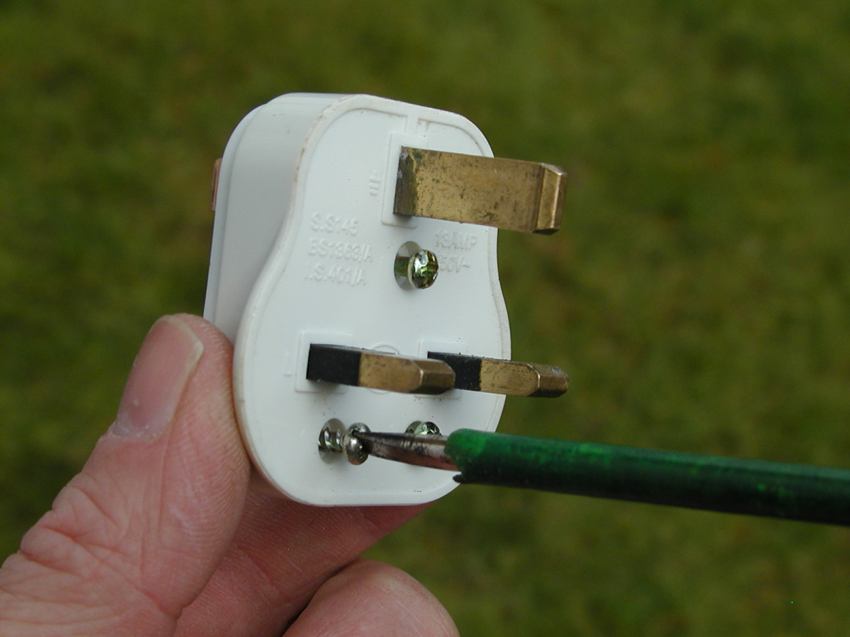 The strain relief on the plug  is held by two screws