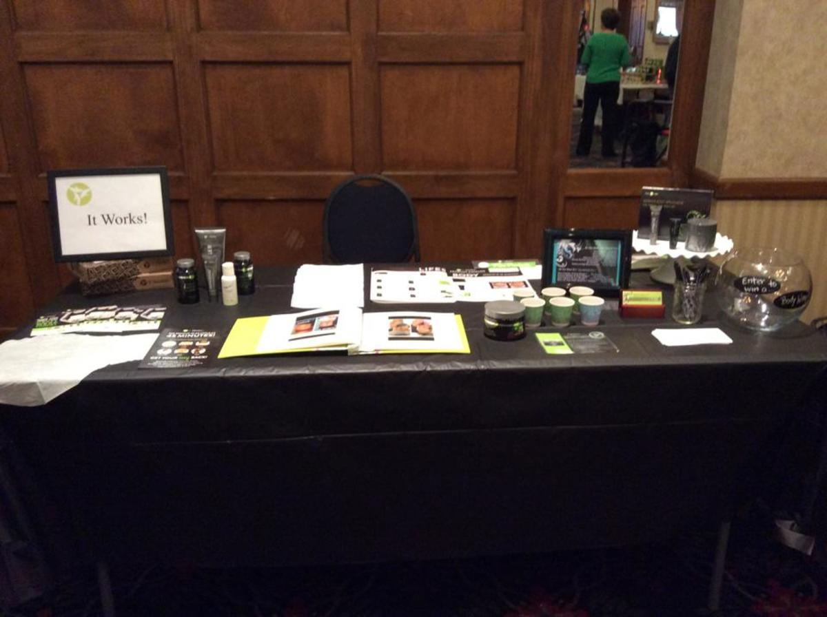 My wife's first convention 'booth' - Her sales pitch is as organized as this table.