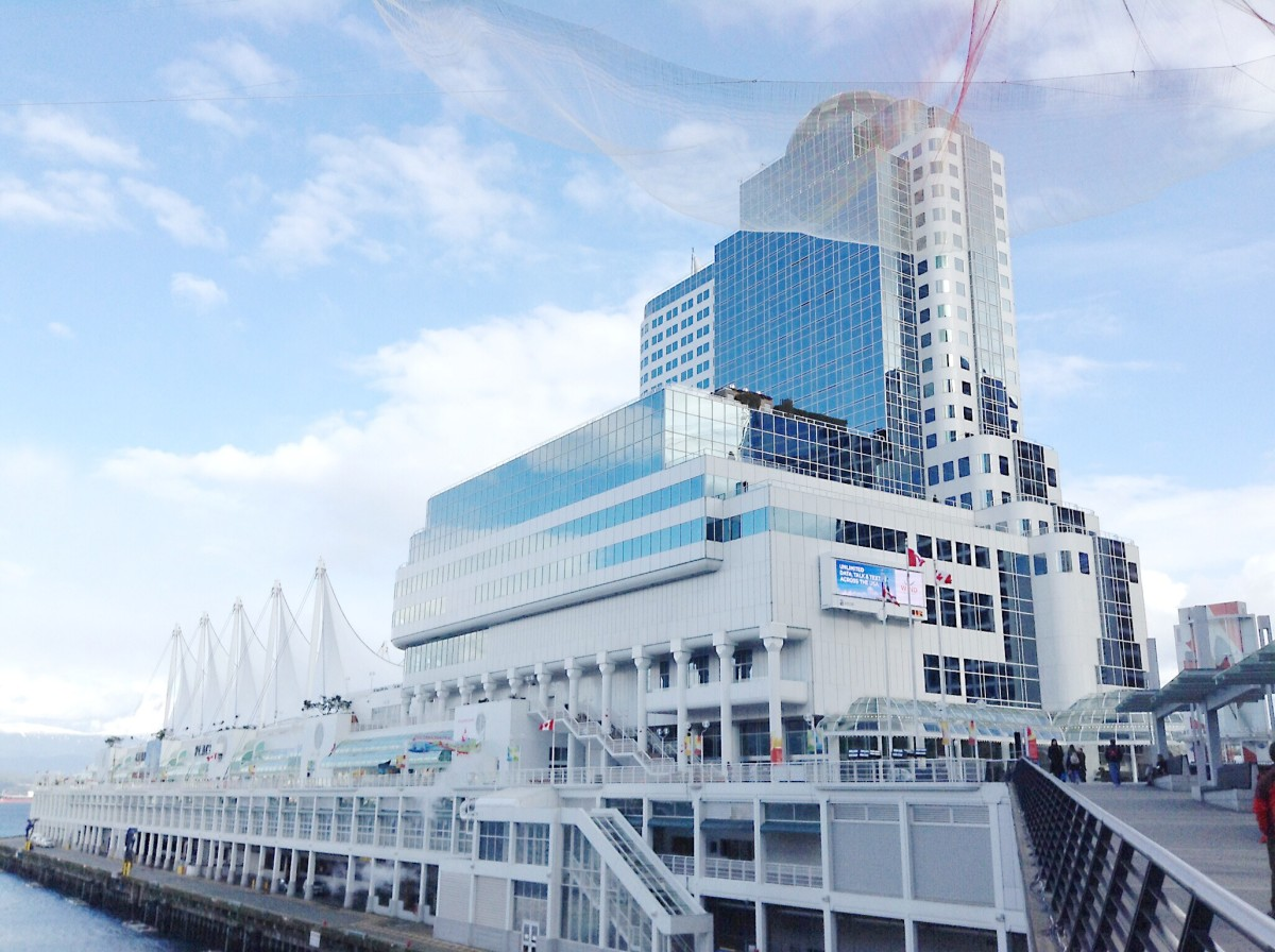Canada Place in downtown Vancouver; the mesh at the top of the photo is part of an aerial sculpture erected to coincide with the TED Talks taking place in the area