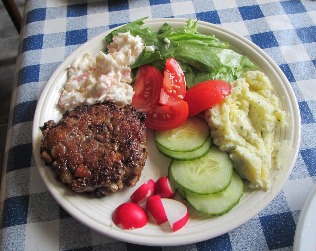 Potato salad with hamburger.