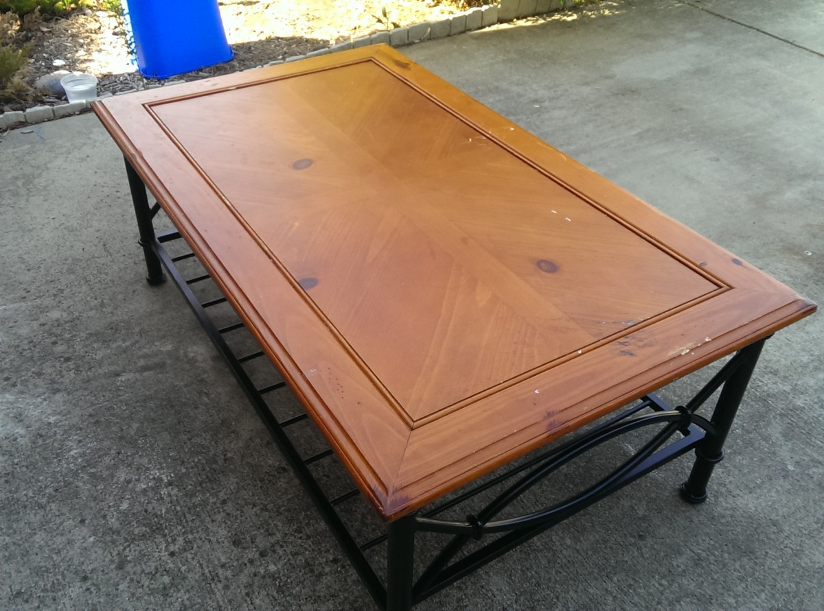 This is the old finish. I really liked it, but it was stained up and nasty from food spills, nail polish remover, pen marks . . . you name it and it was on here and had ruined the finish.
