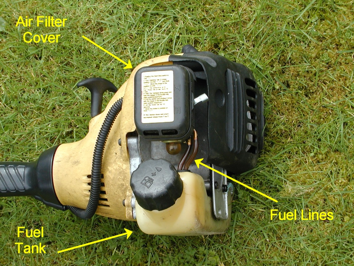 Two-stroke trimmer engine.