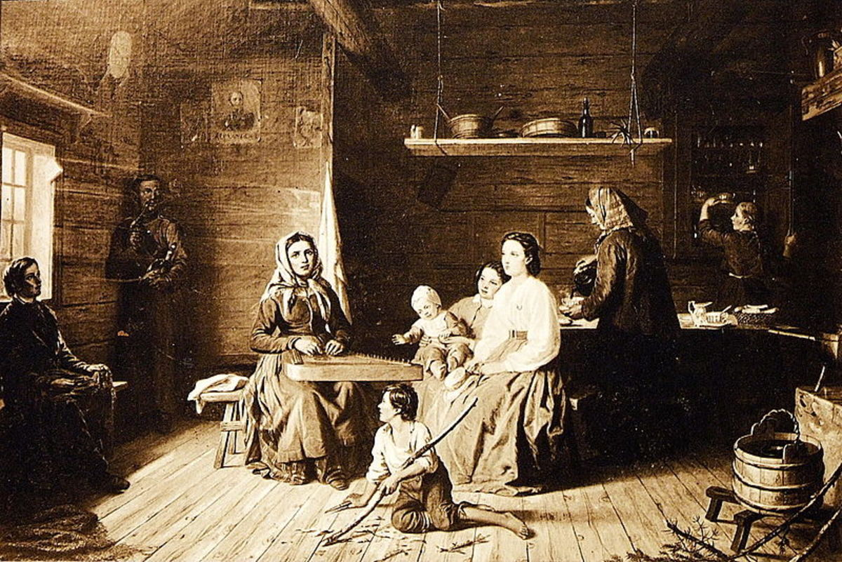 Kreeta Haapasalo Playing the Kantele in a Peasant Cottage by Robert Wilhelm Ekman. History is full of fascinating people and events around which an author may build a story.