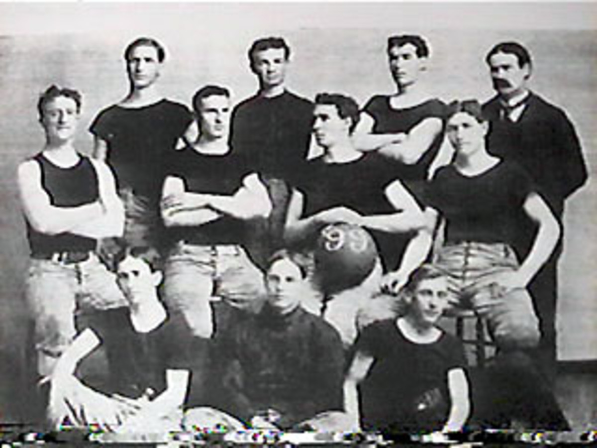 The 1899 University of Kansas men's basketball team.  Their coach and inventor of the sport, Dr. James Naismith, is in the top right.