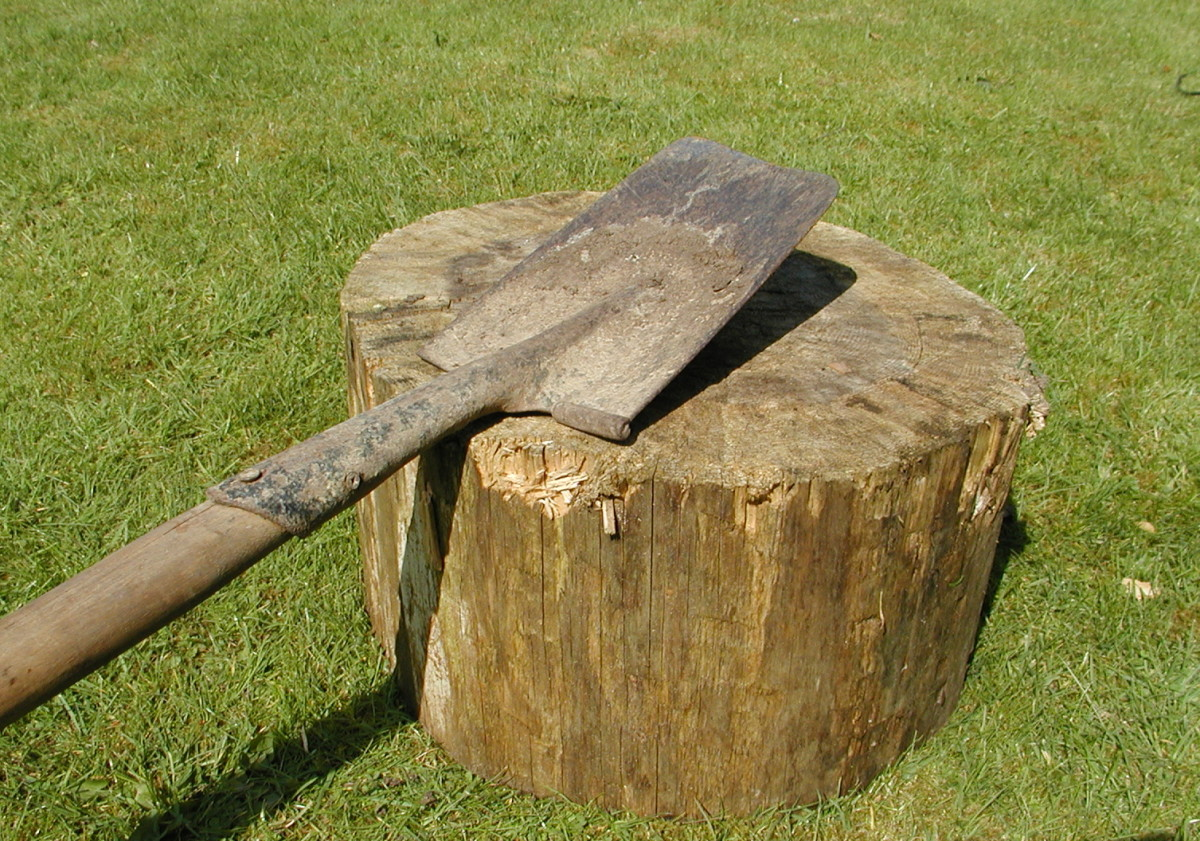 Rest the spade on a log or block, or hold it in a vise