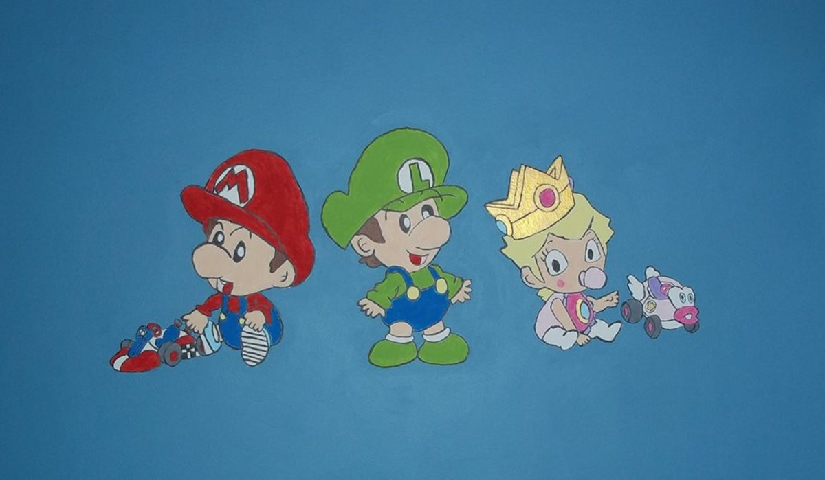 Here is a final image of the Mario characters. Most of the colors are the same used for the Muppet mural. The gold paint for Baby Peach's crown had a shimmer to it.