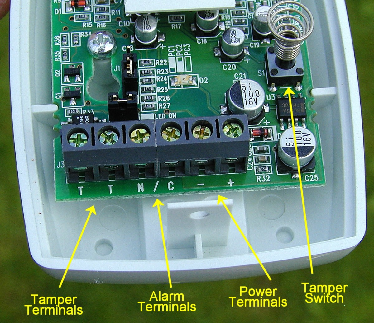 This PIR sensor has 3 pairs of terminals. Alarm contacts are normally closed (n/c) and open on activation .Tamper contacts are n/c and open when lid is removed.