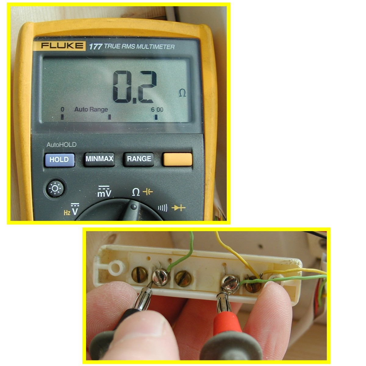 Set the DMM to the ohms range and measure resistance between screw terminals of contacts. The loop should be disconnected at the alarm panel to remove voltage from the contacts.