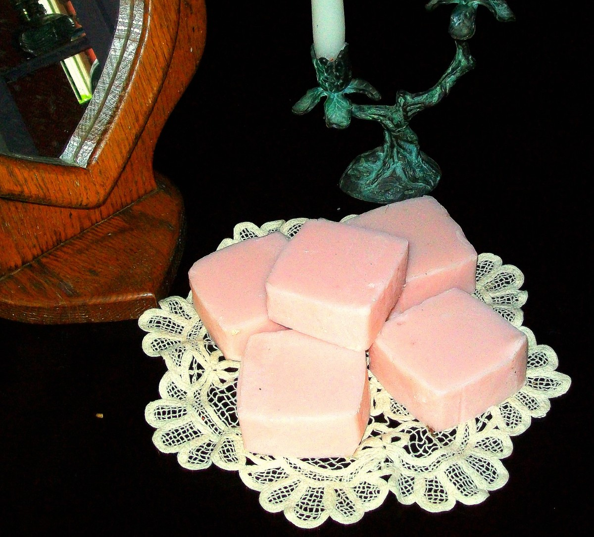 Homemade coconut oil soap with a few drops of red food coloring!