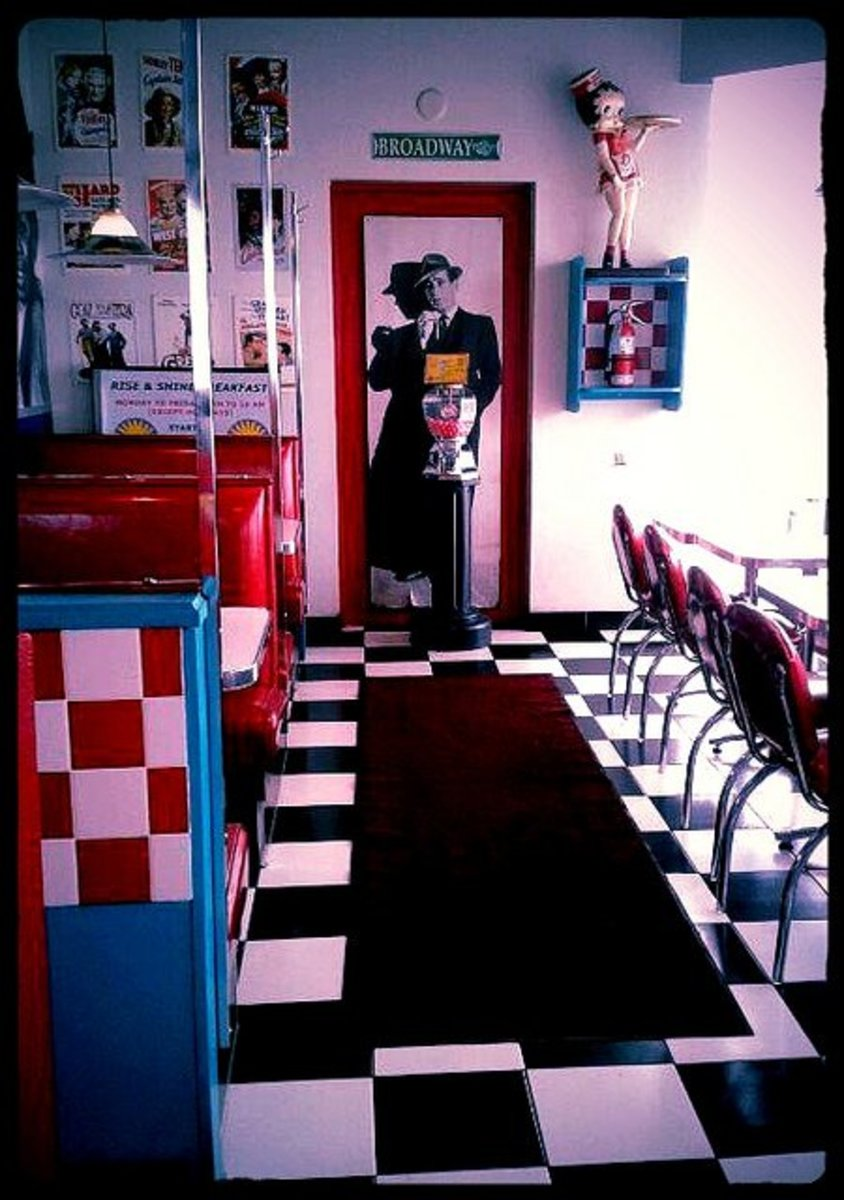 Classic checkered tile floor.