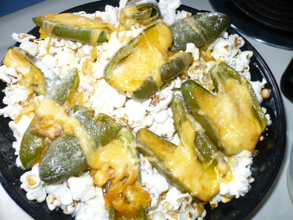 Stuffed Jalapeno Poppers and Popcorn