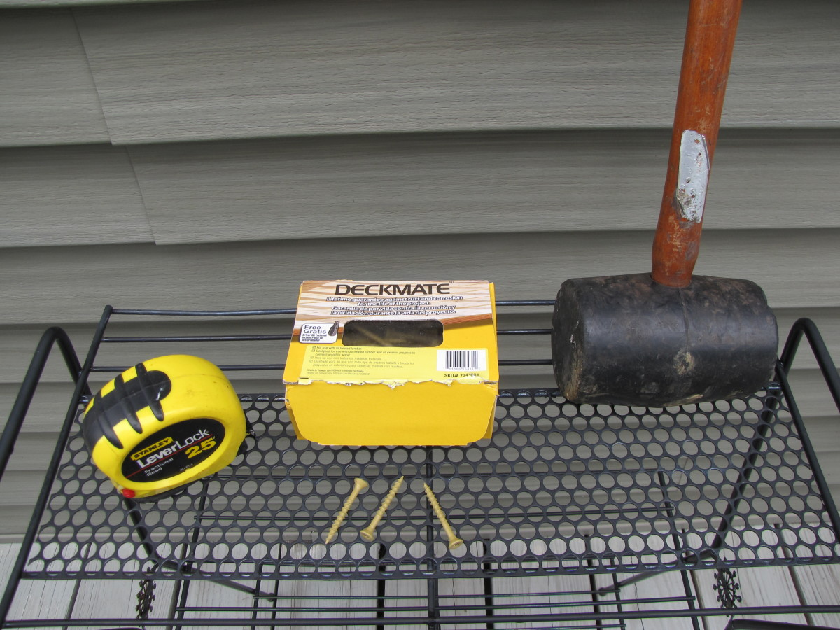 Tools Required:  Tape measure, deck screws, rubber mallet.