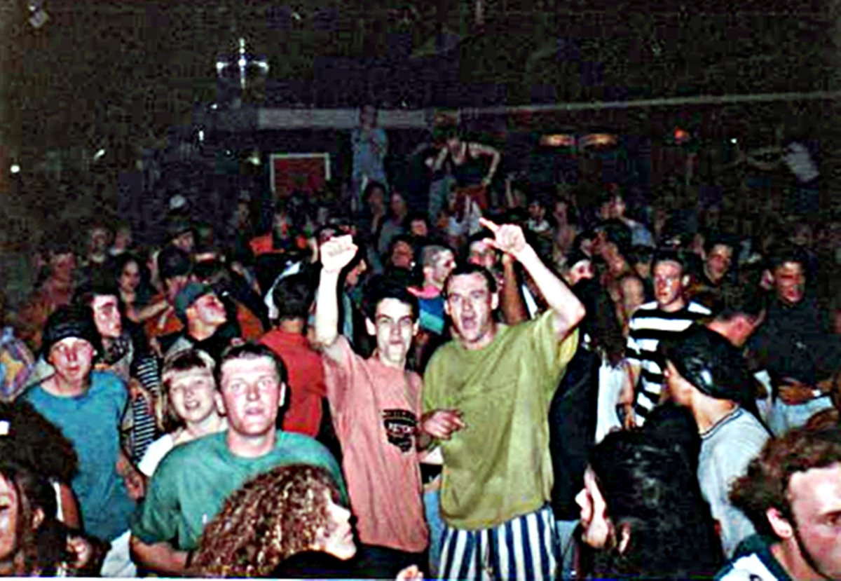 The rave phenomenon in northern England, early 1990s. Picture taken at Hacketts, Blackpool.