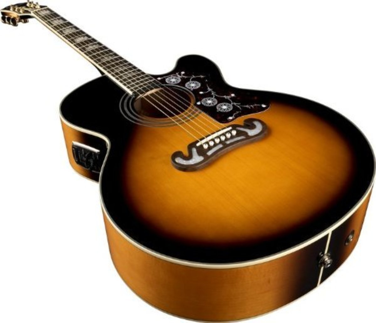 The Epiphone EJ-200CE is one of the best acoustic-electric guitars under $500.