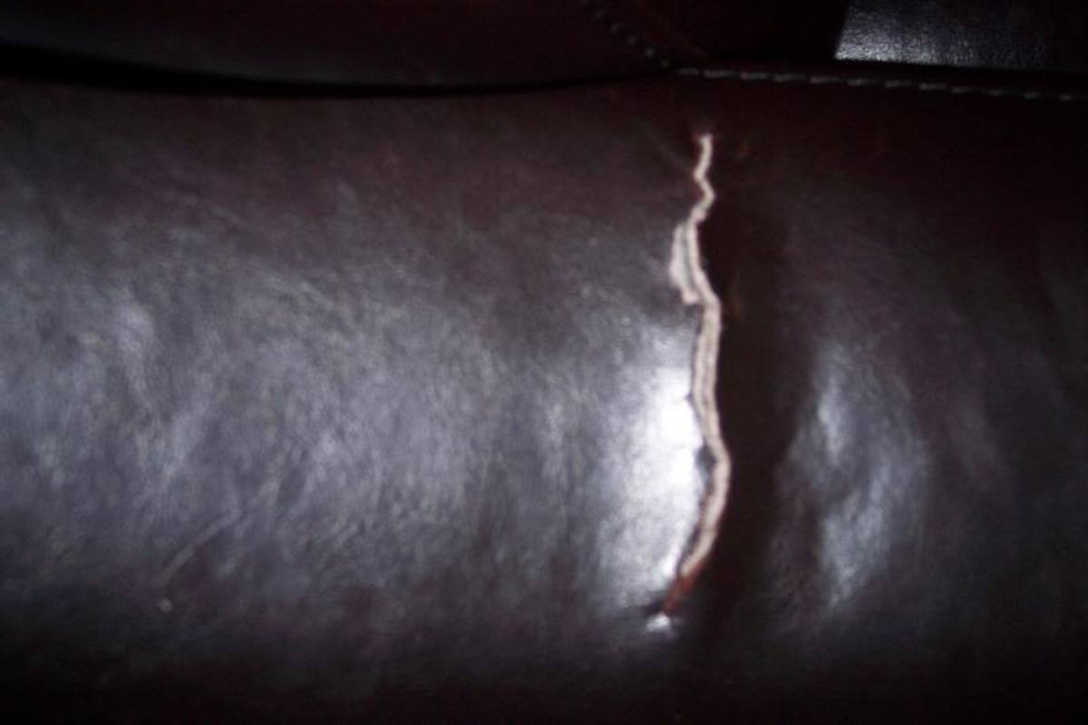 Leather rip on a chair cushion