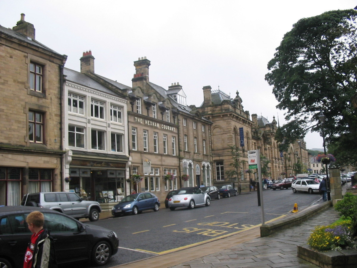 A typical street in Hexham, Northumberland.