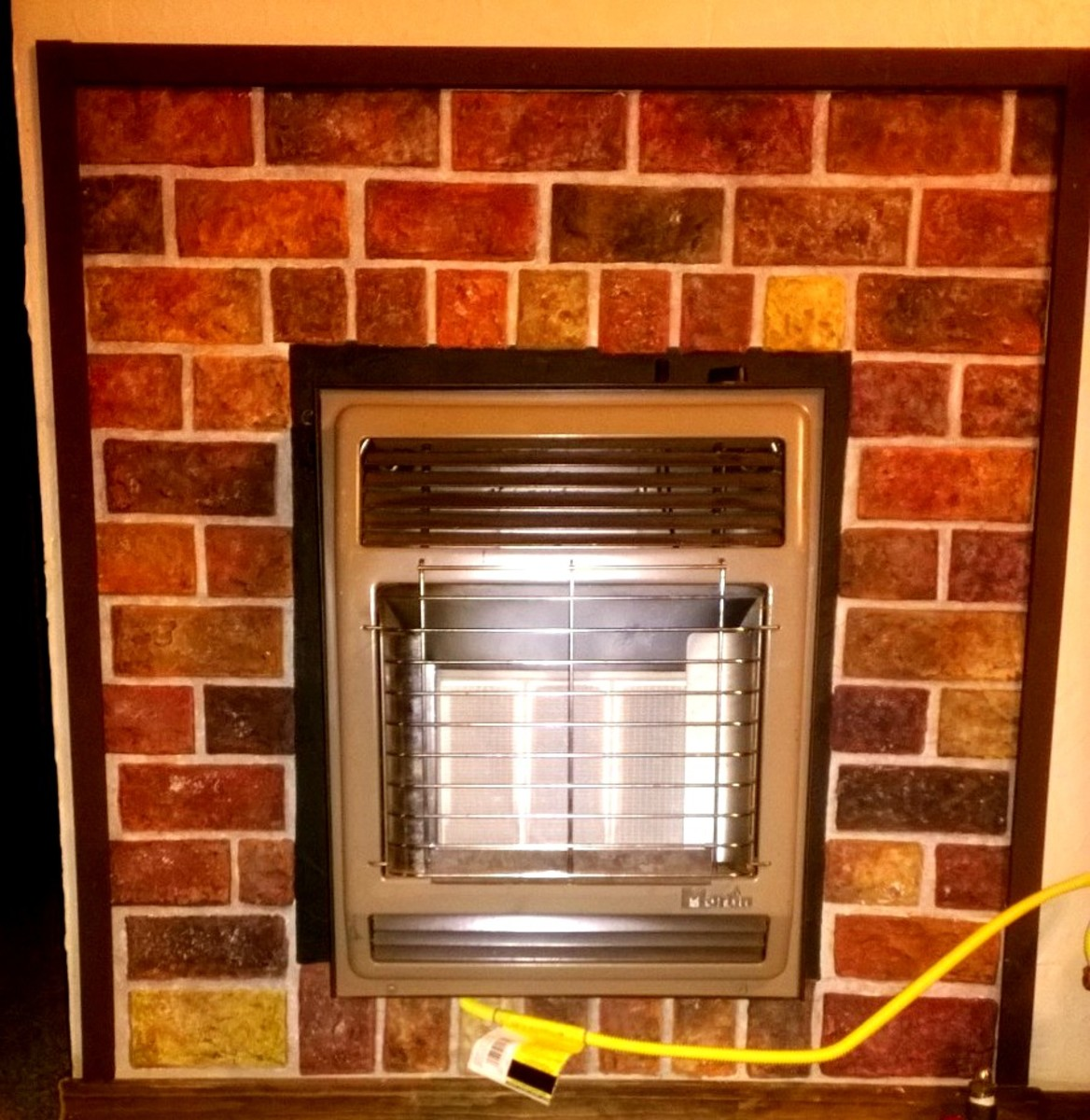 DIY faux brick fireplace