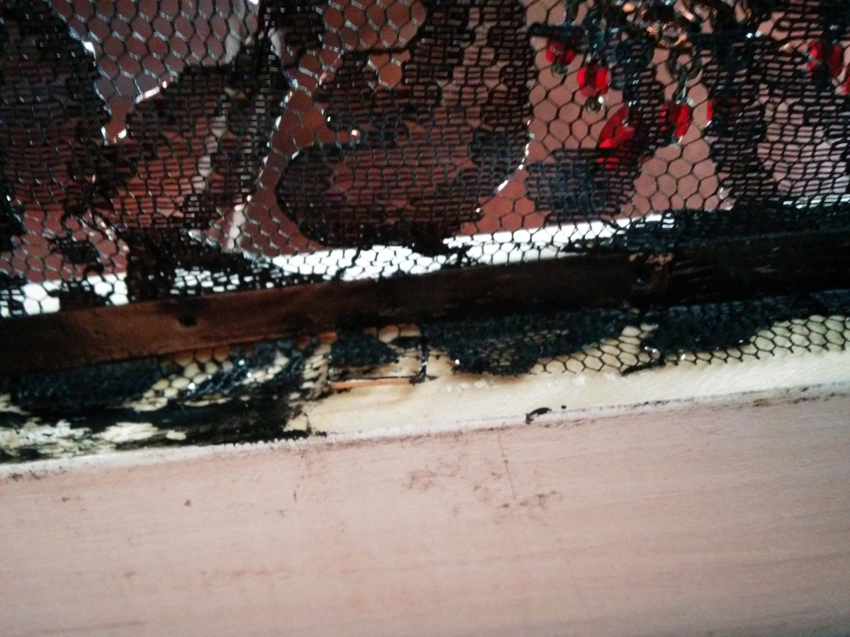 The glued-down lace on the inside of my frame. I painted the cardboard black after gluing to make it less visible against the black lace.