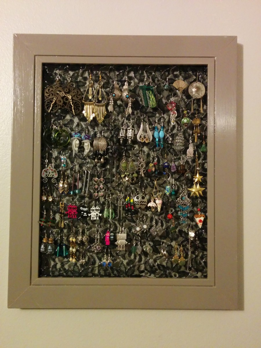 My new earring organizer. Can be hung vertically or horizontally, but I prefer it this way.