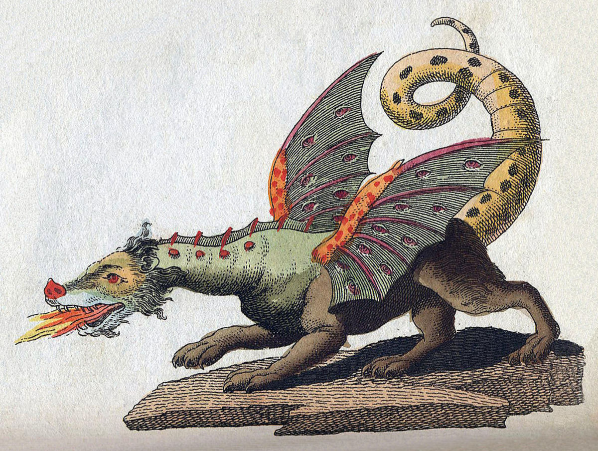 Do you see the three predator animals in this drawing of a dragon?