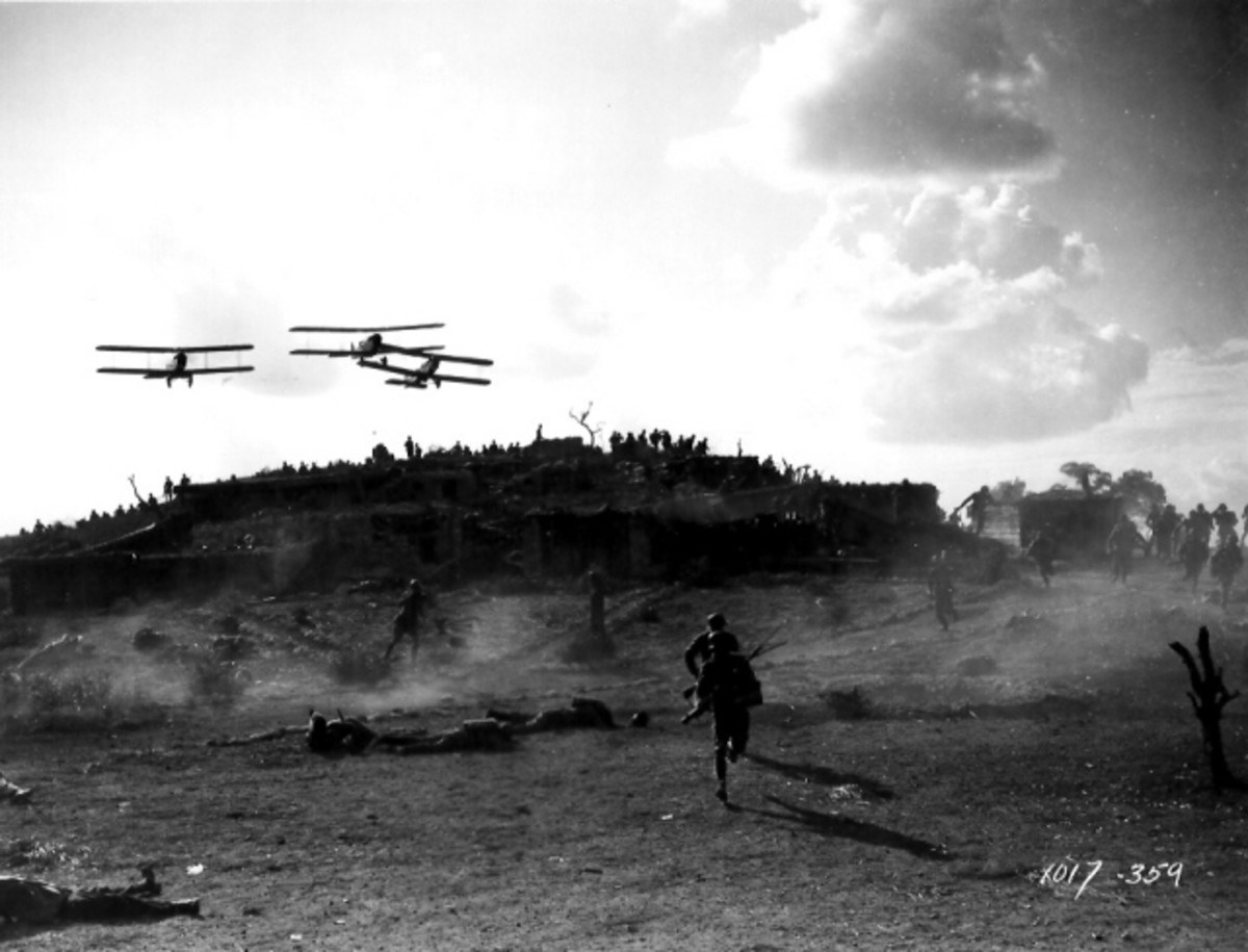 "Battle scene still from the silent movie ""Wings,"" winner of the first Academy Award for Best Picture."