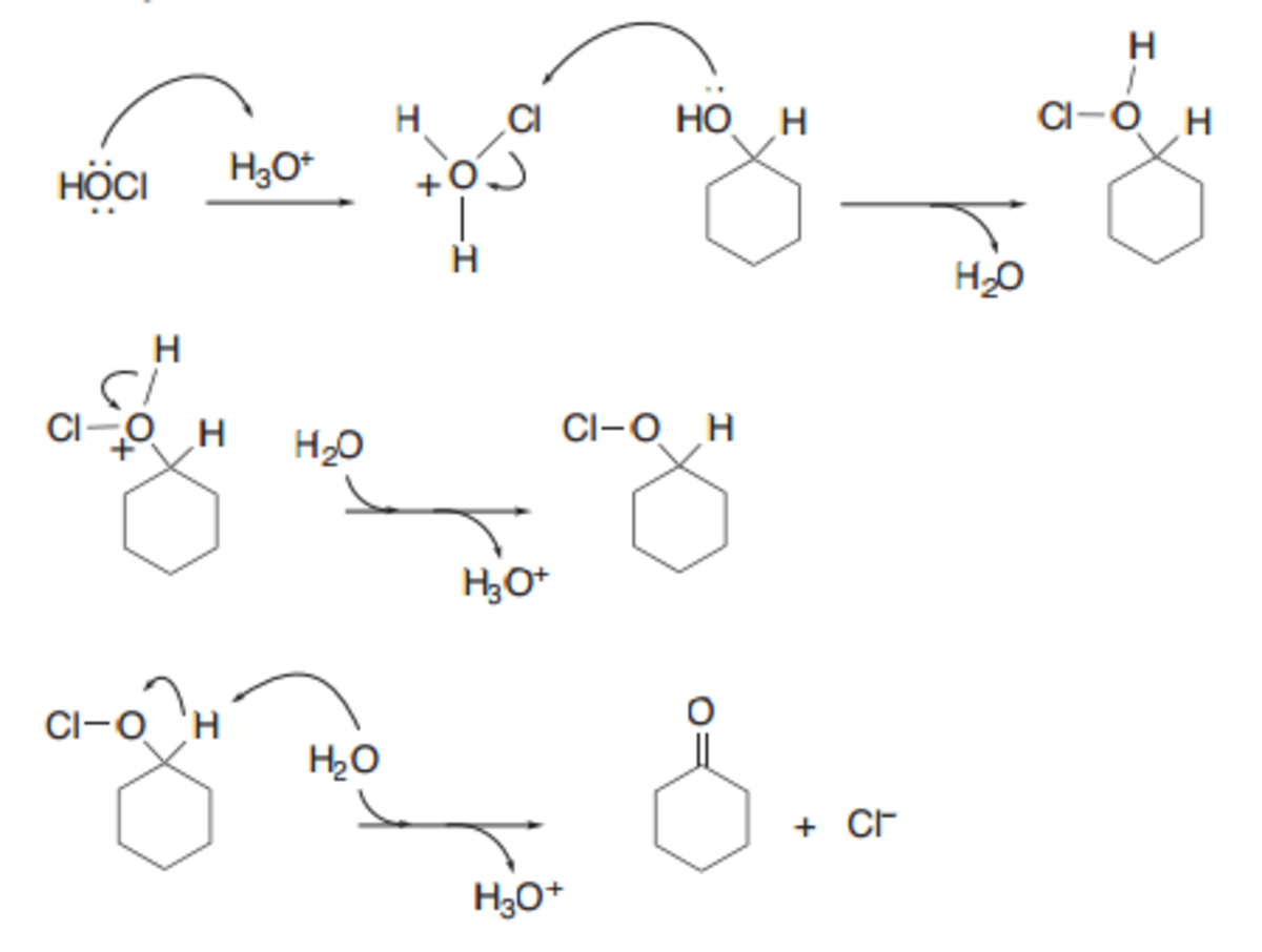 oxidation of cyclohexanol Answer to mechanism for the oxidation of cyclohexanol to cyclohexanone using  the reagents naocl (bleach) and ch3cooh (glacial acet.