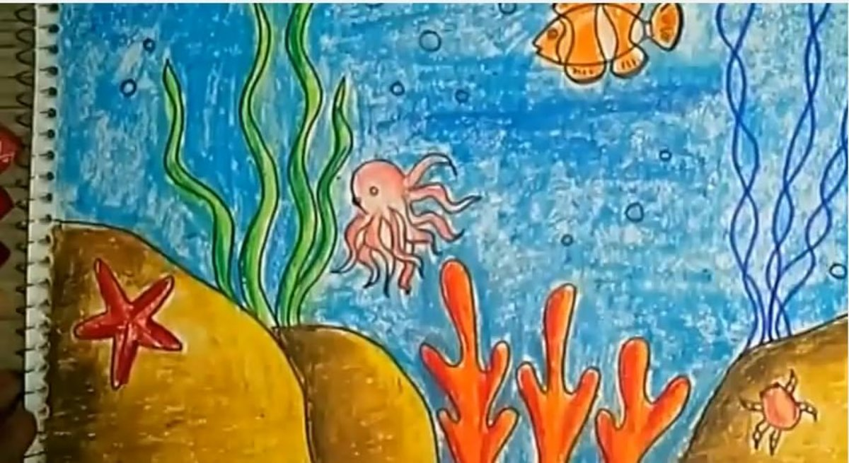 Children's Art - How to draw and color an underwater scene using oil pastels for kids