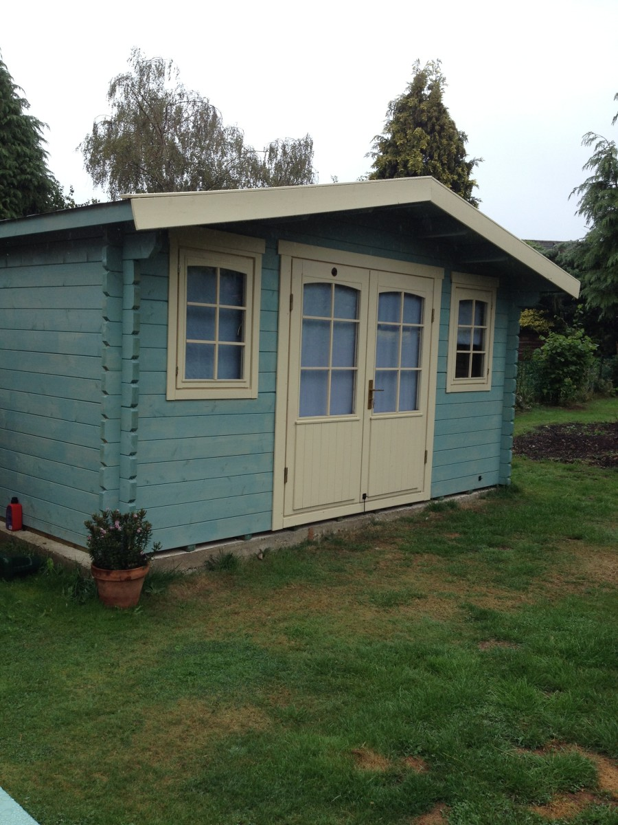 Our completed Lillevilla cabin. Painted using Cuprinol.