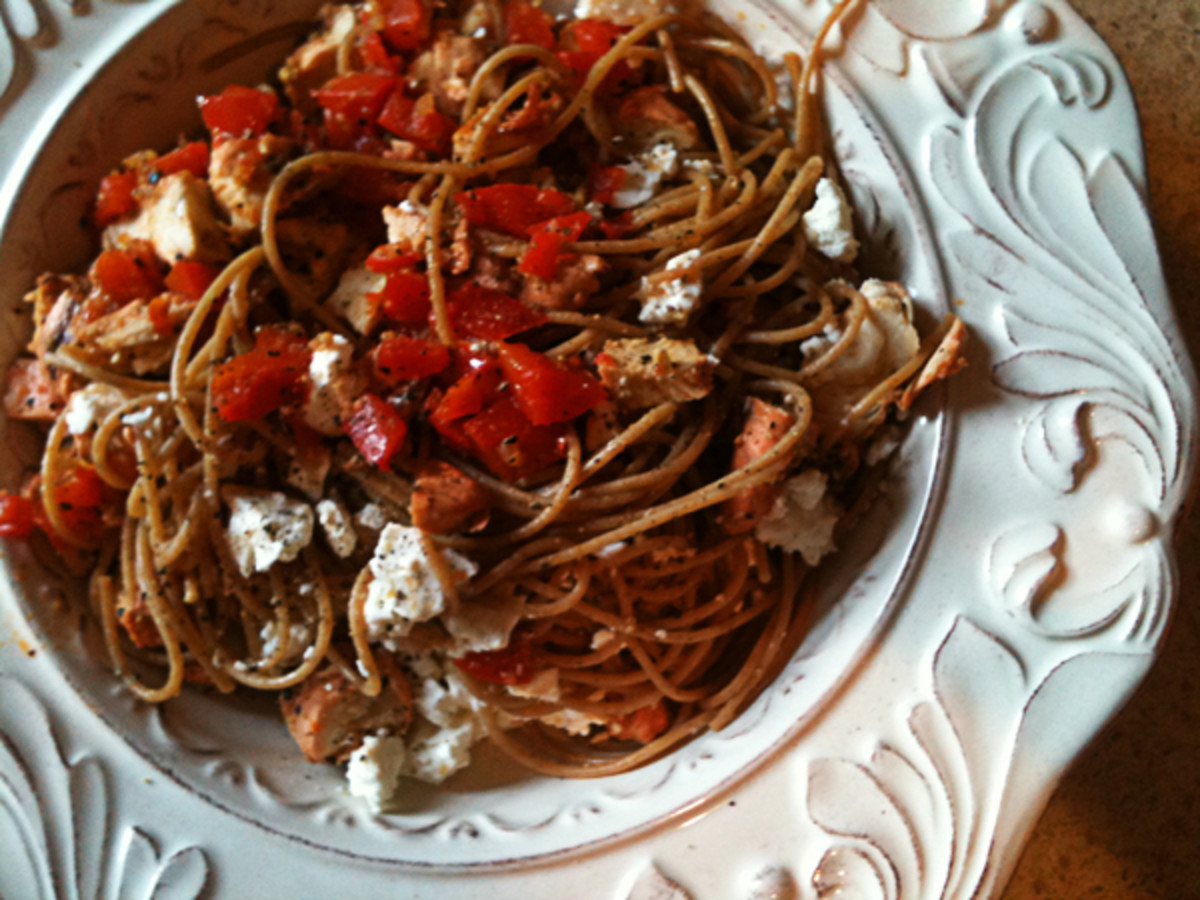 Red pepper, feta, chicken, and dill over pasta. A simple meal for a lazy cook!