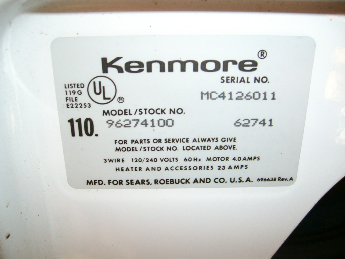 Here is another example of a model number tag on a Kenmore appliance.