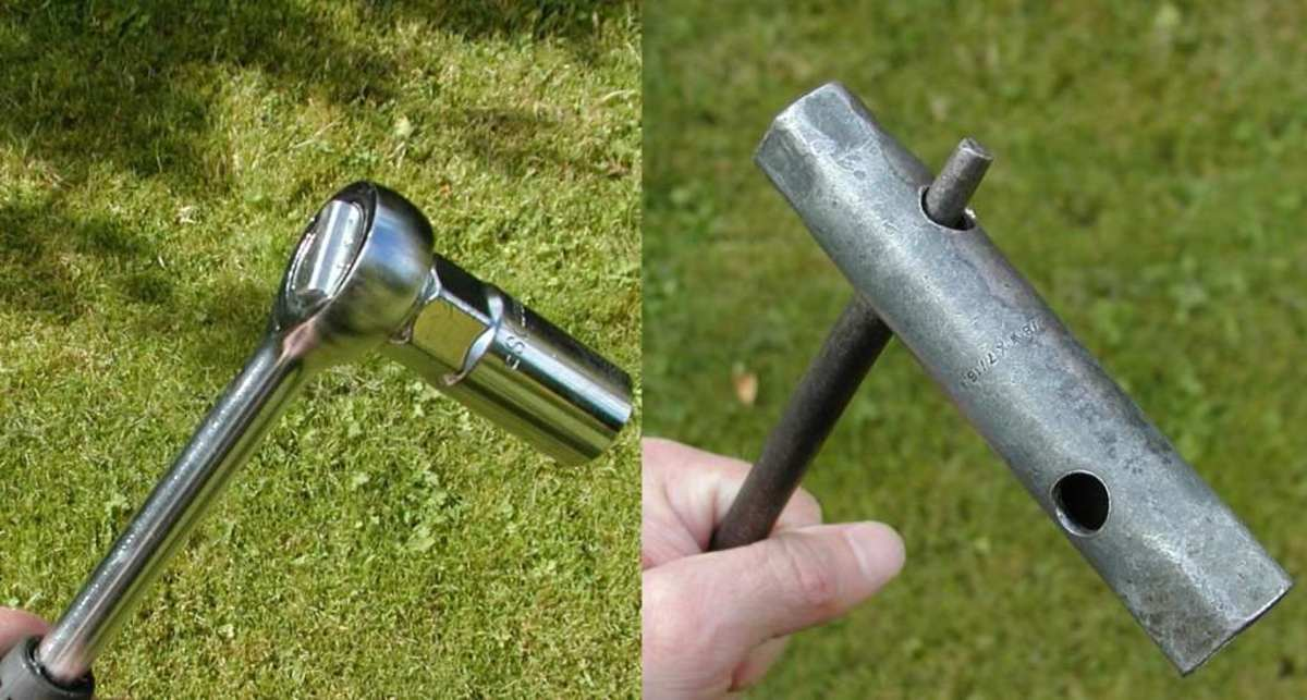 Two styles of plug wrench: Socket wrench and box wrench/spanner.