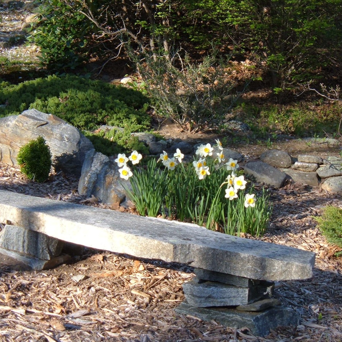 We turned a slab of stone into a natural stone bench