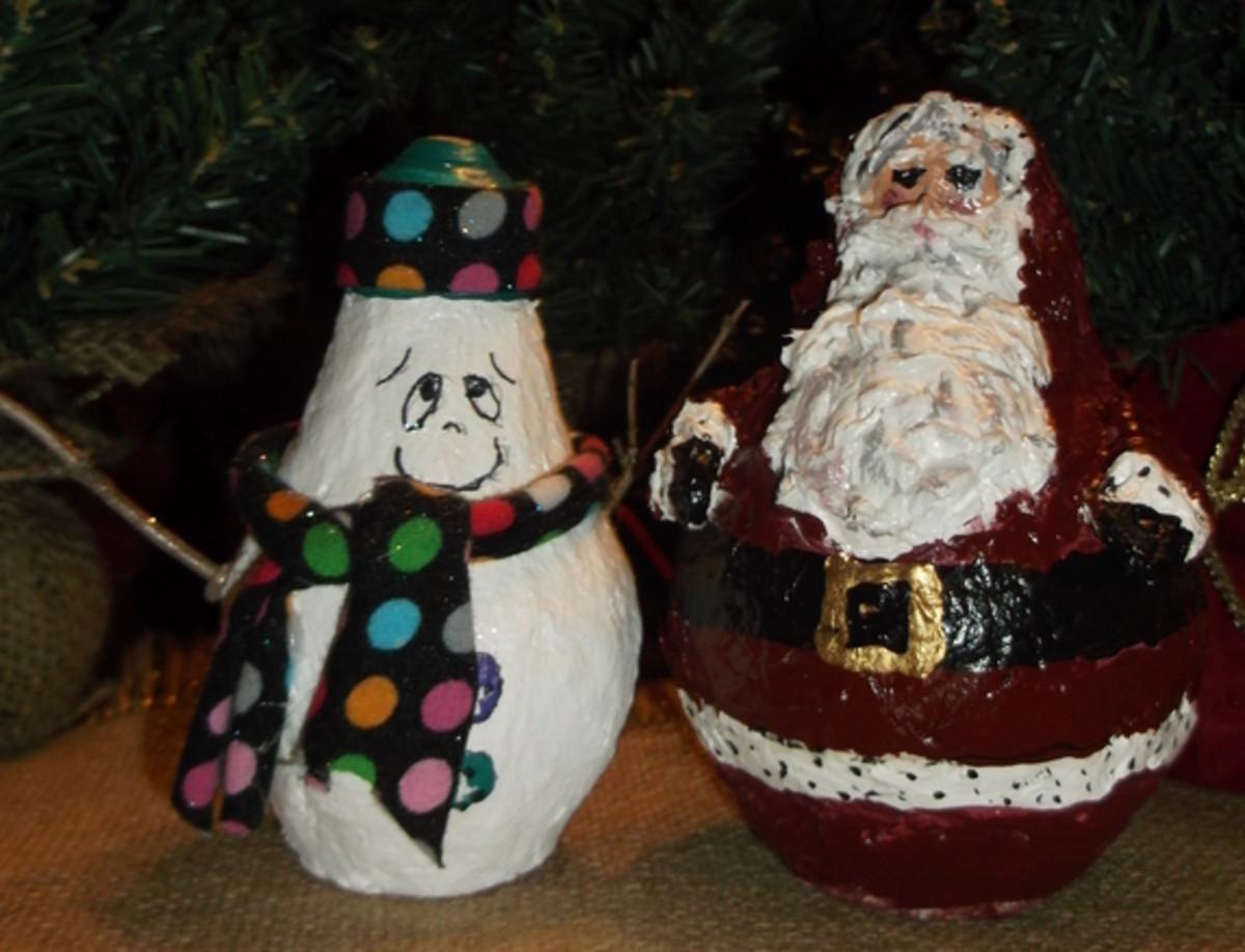 Paper Mache Clay Light Bulb Snowman and Santa