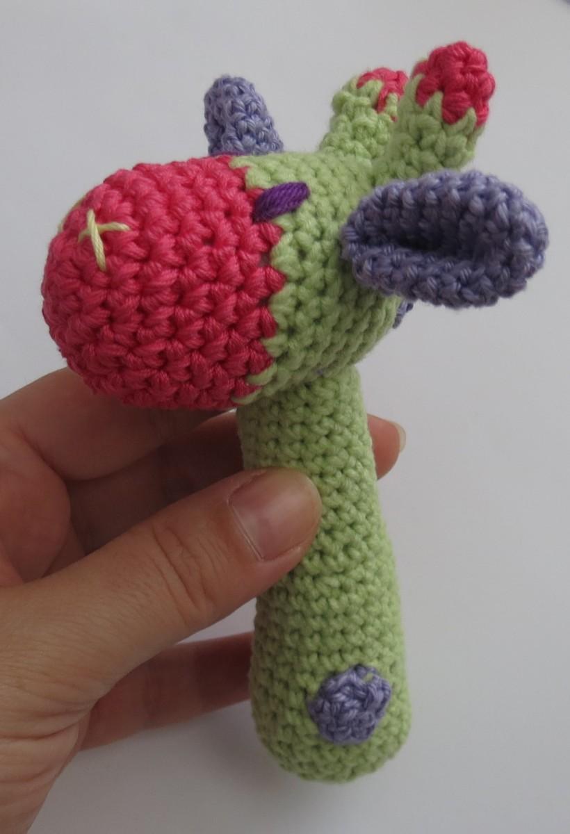 Crochet giraffe baby rattle