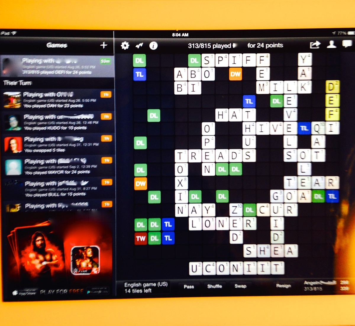 Wordfeud on iPad
