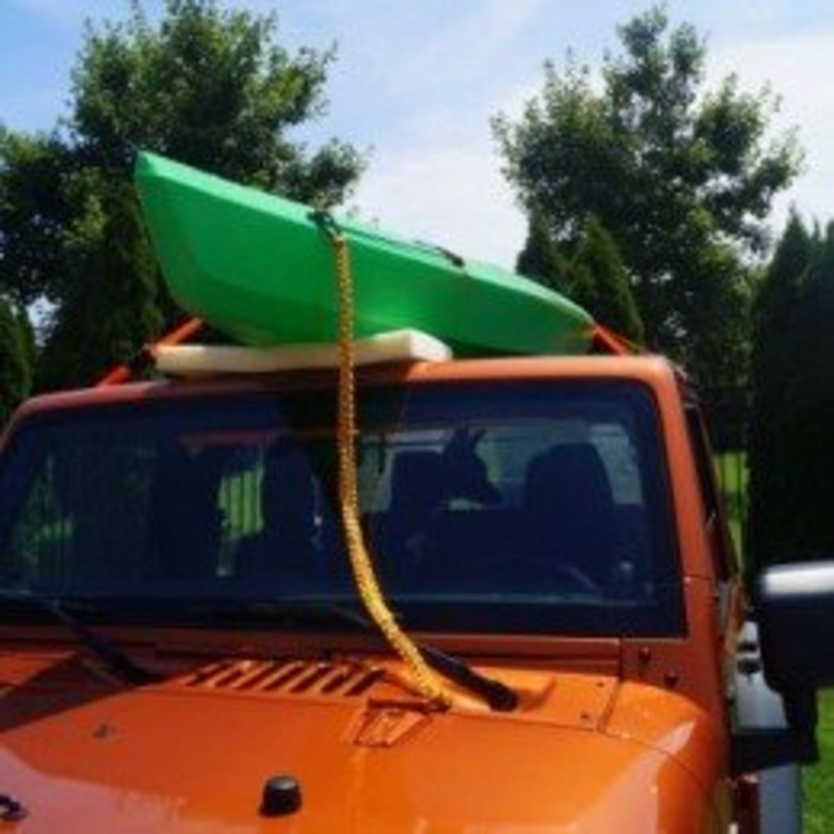 How To Strap A Kayak To A Softtop Jeep For Transport